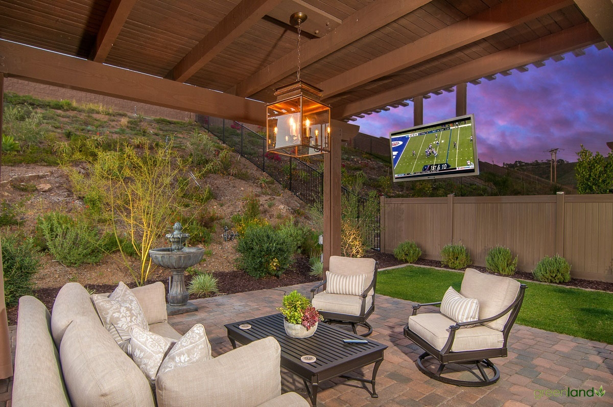 Outside Covered Seating Area and Outdoor TV