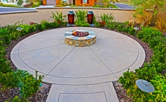 Front Courtyard Fire Pit and Water Features