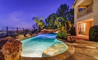 Pool and Hardscape - Night